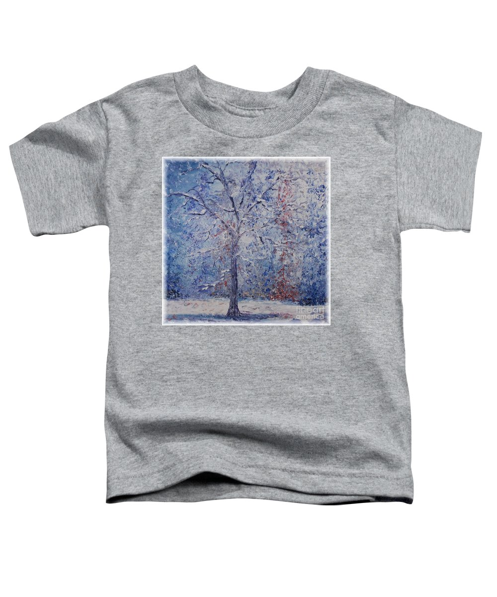 Winter Toddler T-Shirt featuring the painting Winter Trees by Nadine Rippelmeyer