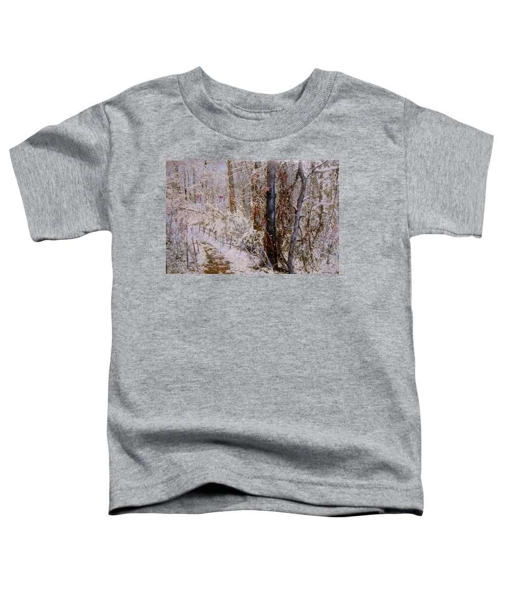 Snow; Trees Toddler T-Shirt featuring the painting Winter Wonderland by Ben Kiger