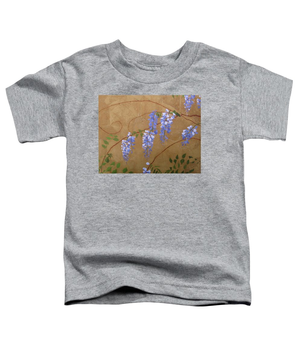 Periwinkle Wisteria Flowers Toddler T-Shirt featuring the painting Wisteria by Leah Tomaino
