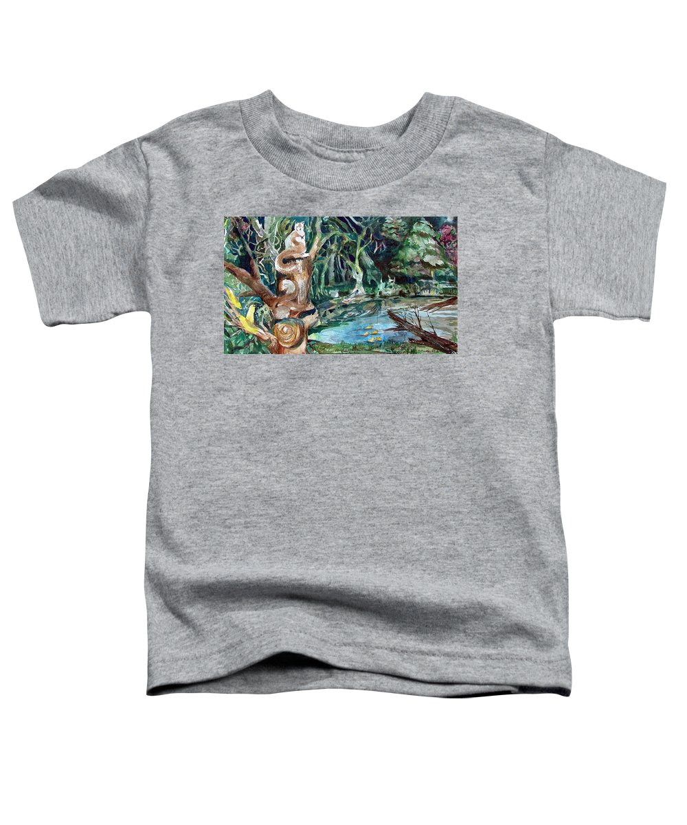 Squirrels Toddler T-Shirt featuring the painting Woodland Critters by Mindy Newman