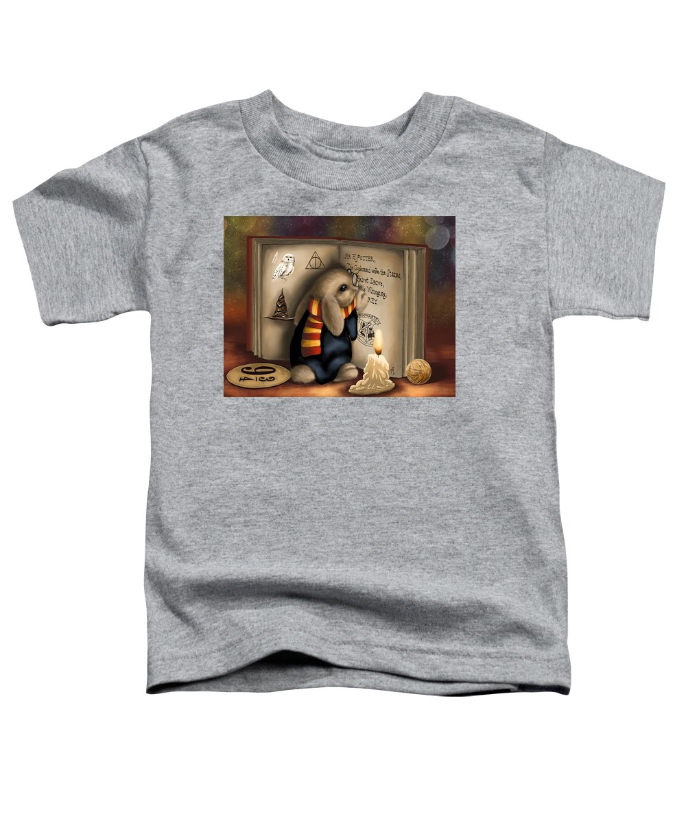 Bunny Toddler T-Shirt featuring the painting Wow I'm Harry Potter by Veronica Minozzi