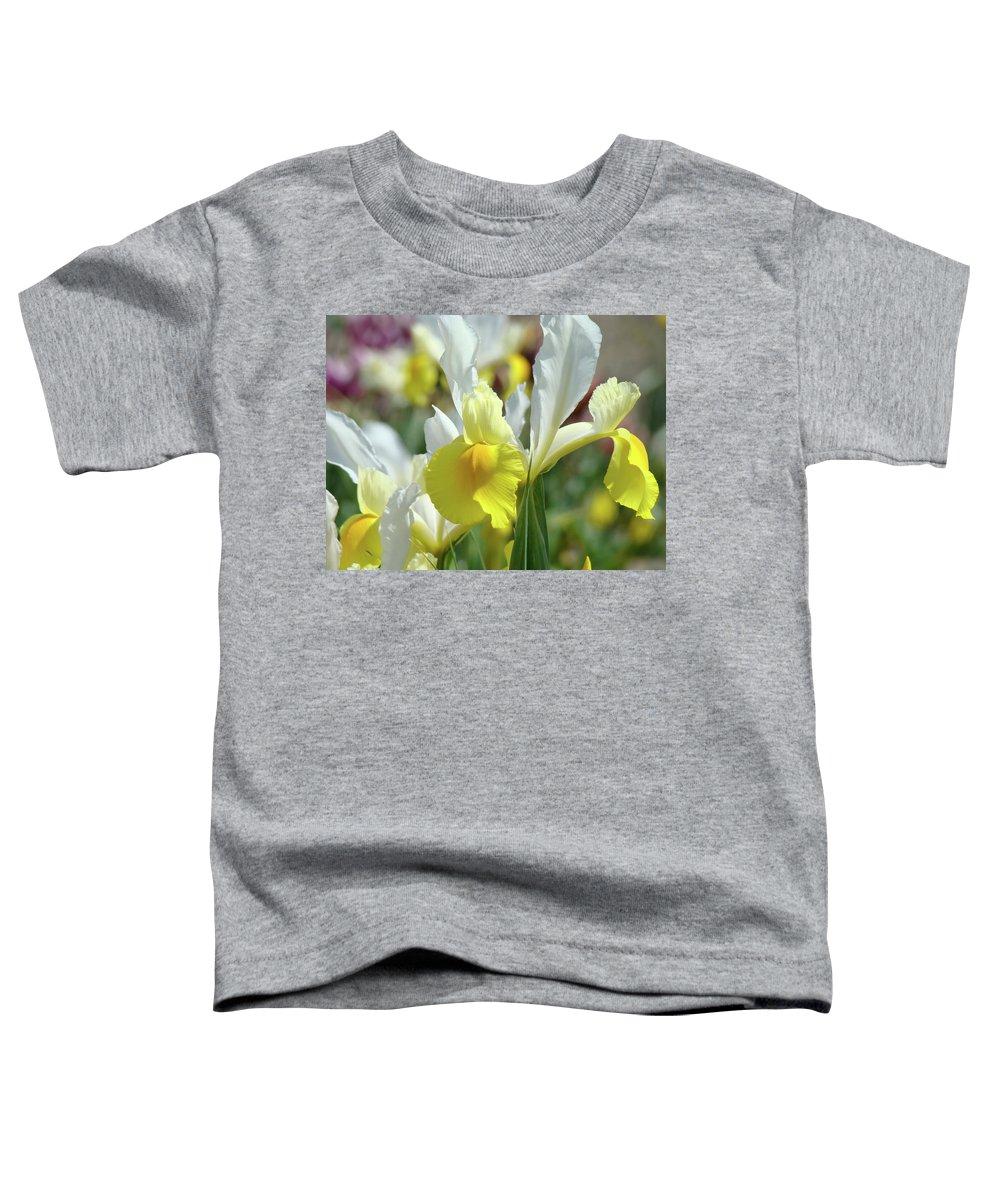 �irises Artwork� Toddler T-Shirt featuring the photograph Yellow Irises Flowers Iris Flower Art Print Floral Botanical Art Baslee Troutman by Baslee Troutman