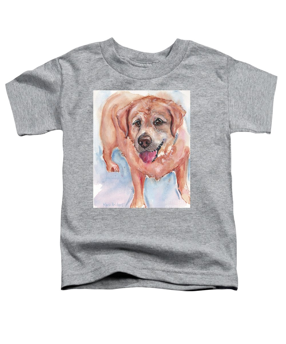 Yellow Lab Toddler T-Shirt featuring the painting Yellow Labrador Watercolor Painting by Maria Reichert