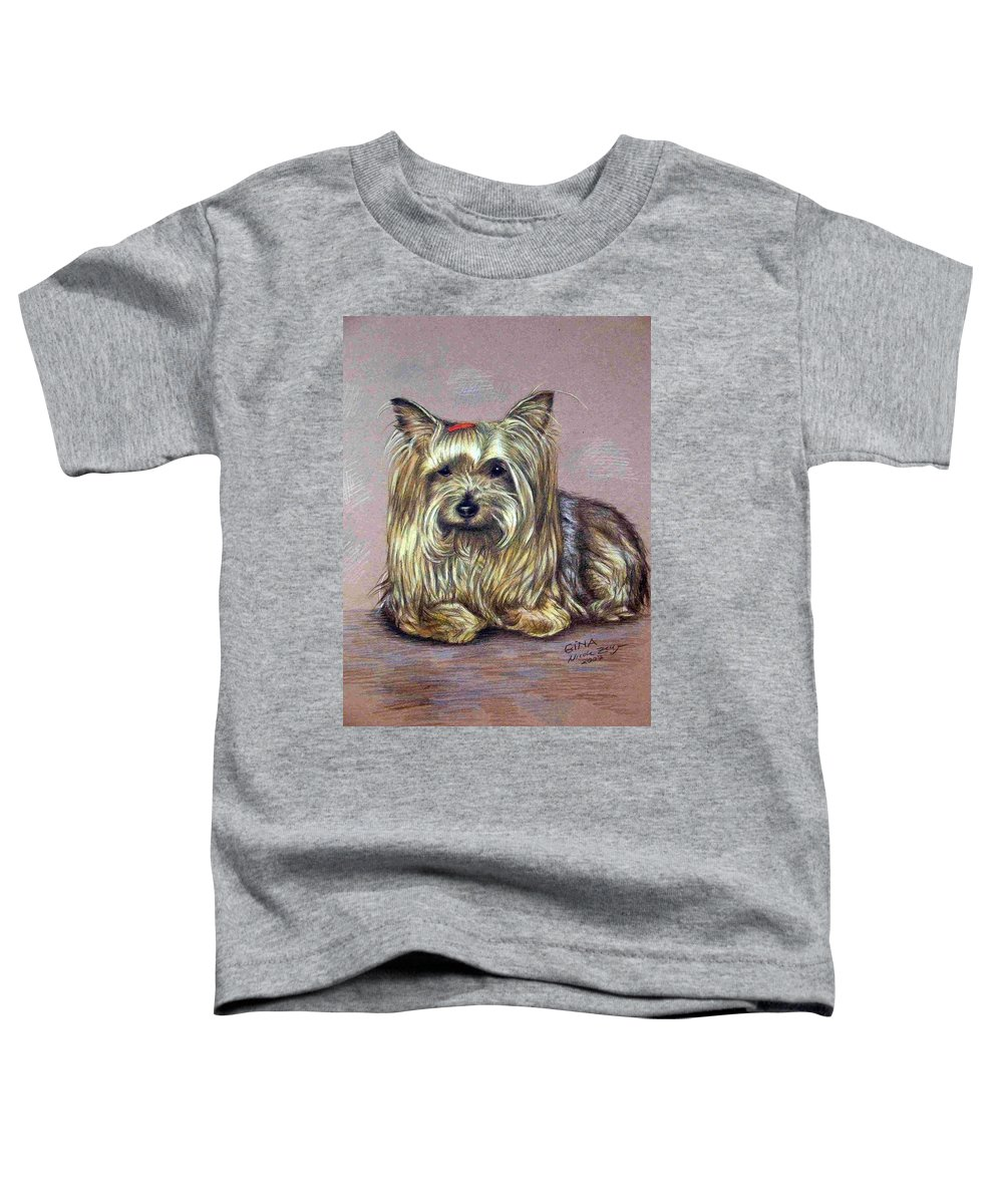 Dog Toddler T-Shirt featuring the drawing Yorkshire Terrier by Nicole Zeug