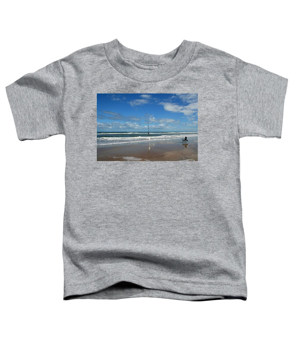 Fish Fishing Vacation Beach Surf Shore Rod Pole Chair Blue Sky Ocean Waves Wave Sun Sunny Bright Toddler T-Shirt featuring the photograph You Could Have Been There by Andrei Shliakhau