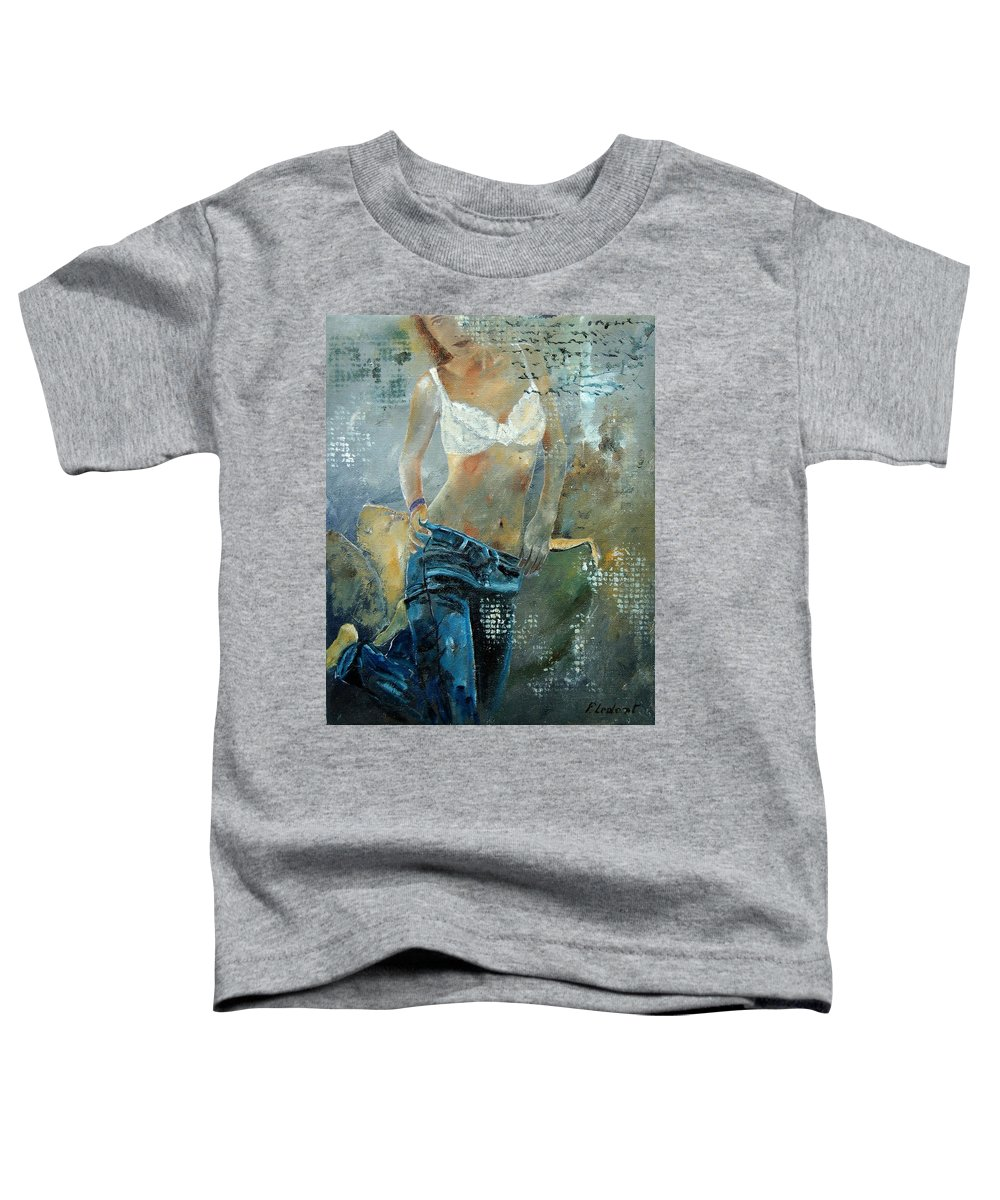 Girl Toddler T-Shirt featuring the painting Young Girl In Jeans by Pol Ledent