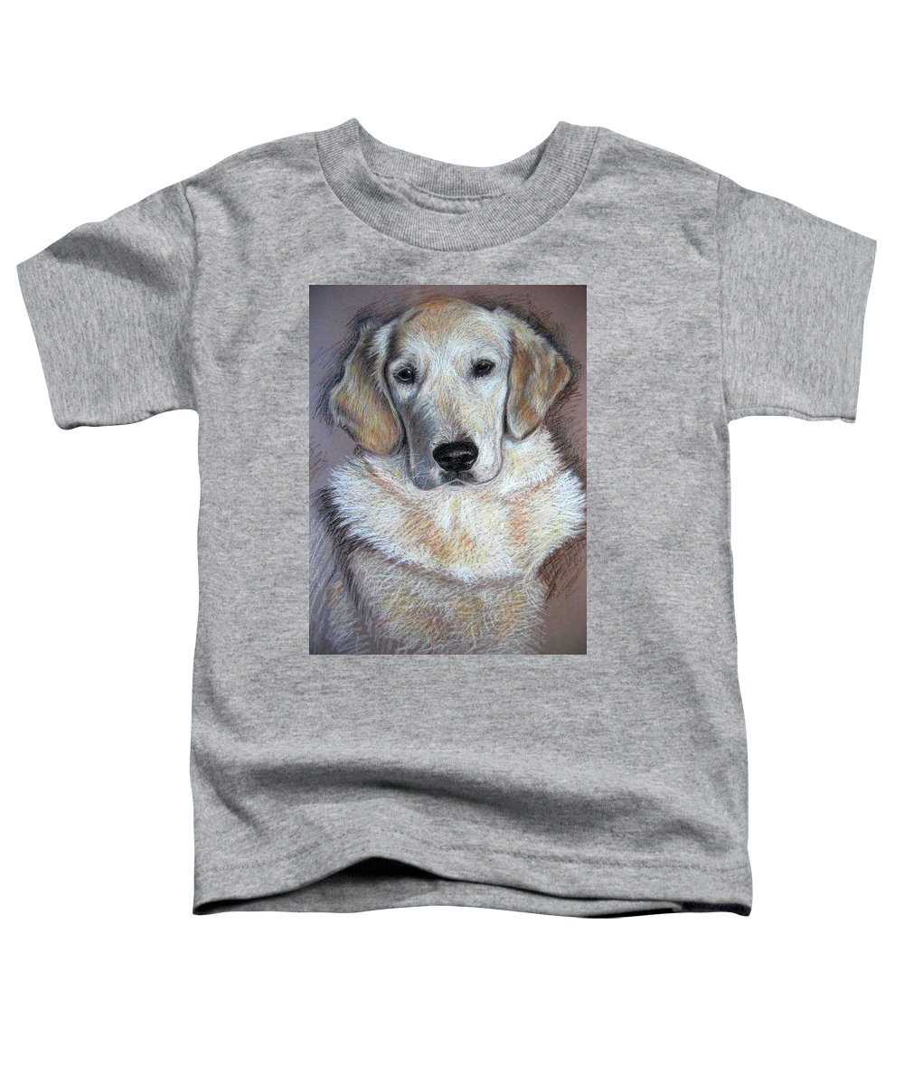 Dog Toddler T-Shirt featuring the pastel Young Golden Retriever by Nicole Zeug