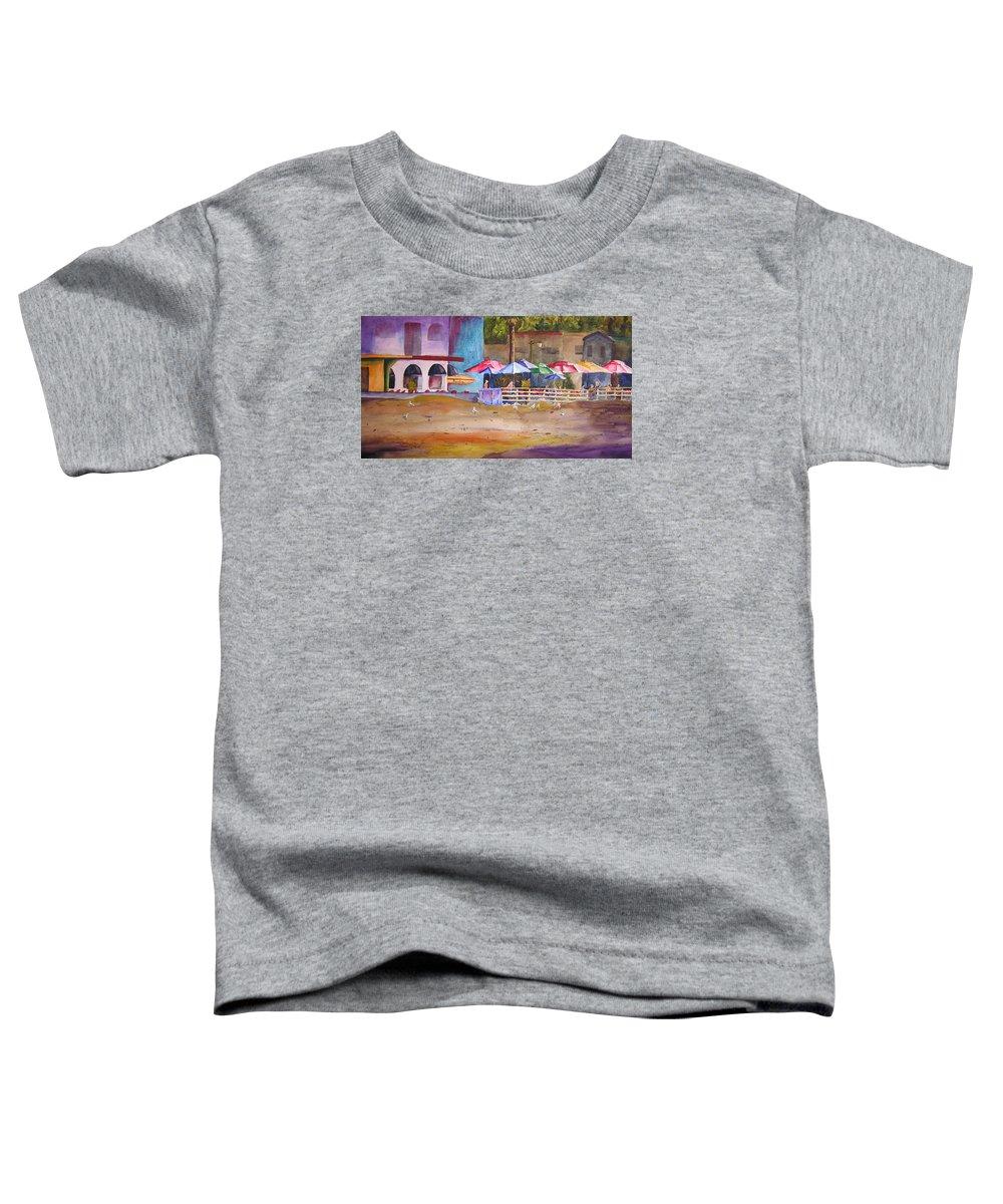 Umbrella Toddler T-Shirt featuring the painting Zelda's Umbrellas by Karen Stark