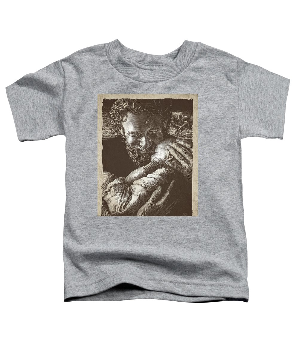 Color Scratchboard Toddler T-Shirt featuring the drawing Joseph by Clint Hansen