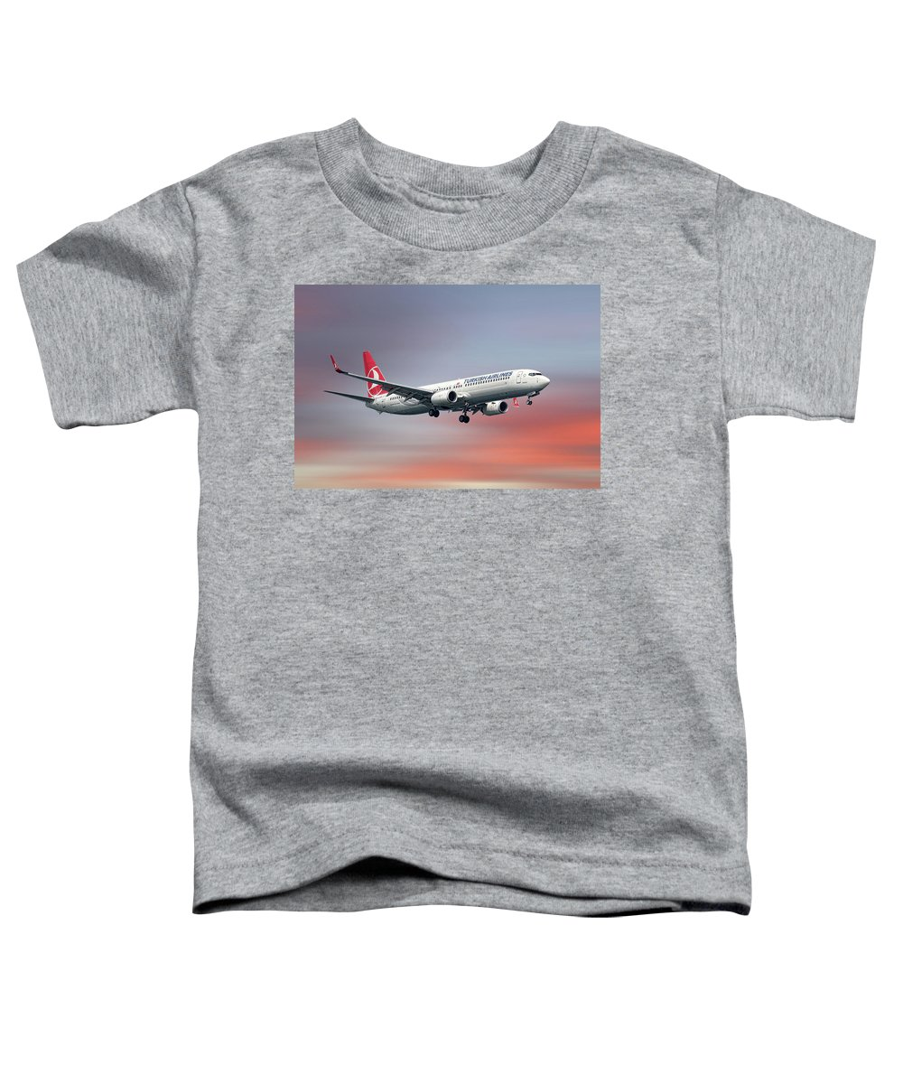 Turkish Toddler T-Shirt featuring the mixed media Turkish Airlines Boeing 737-9f2 by Smart Aviation