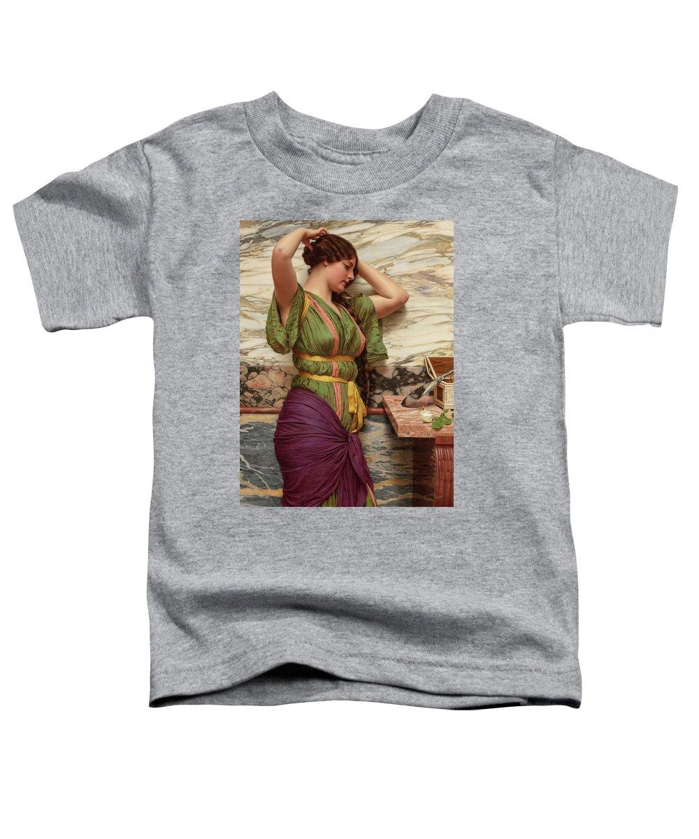 John William Godward Toddler T-Shirt featuring the painting A Fair Reflection, 19th Century by John William Godward