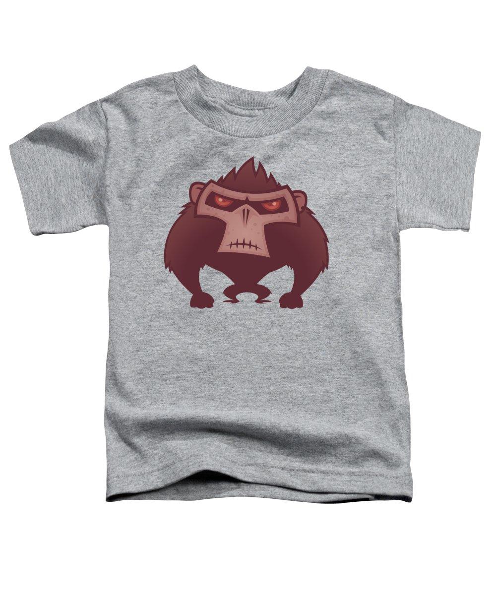 Animal Toddler T-Shirt featuring the digital art Angry Ape by John Schwegel
