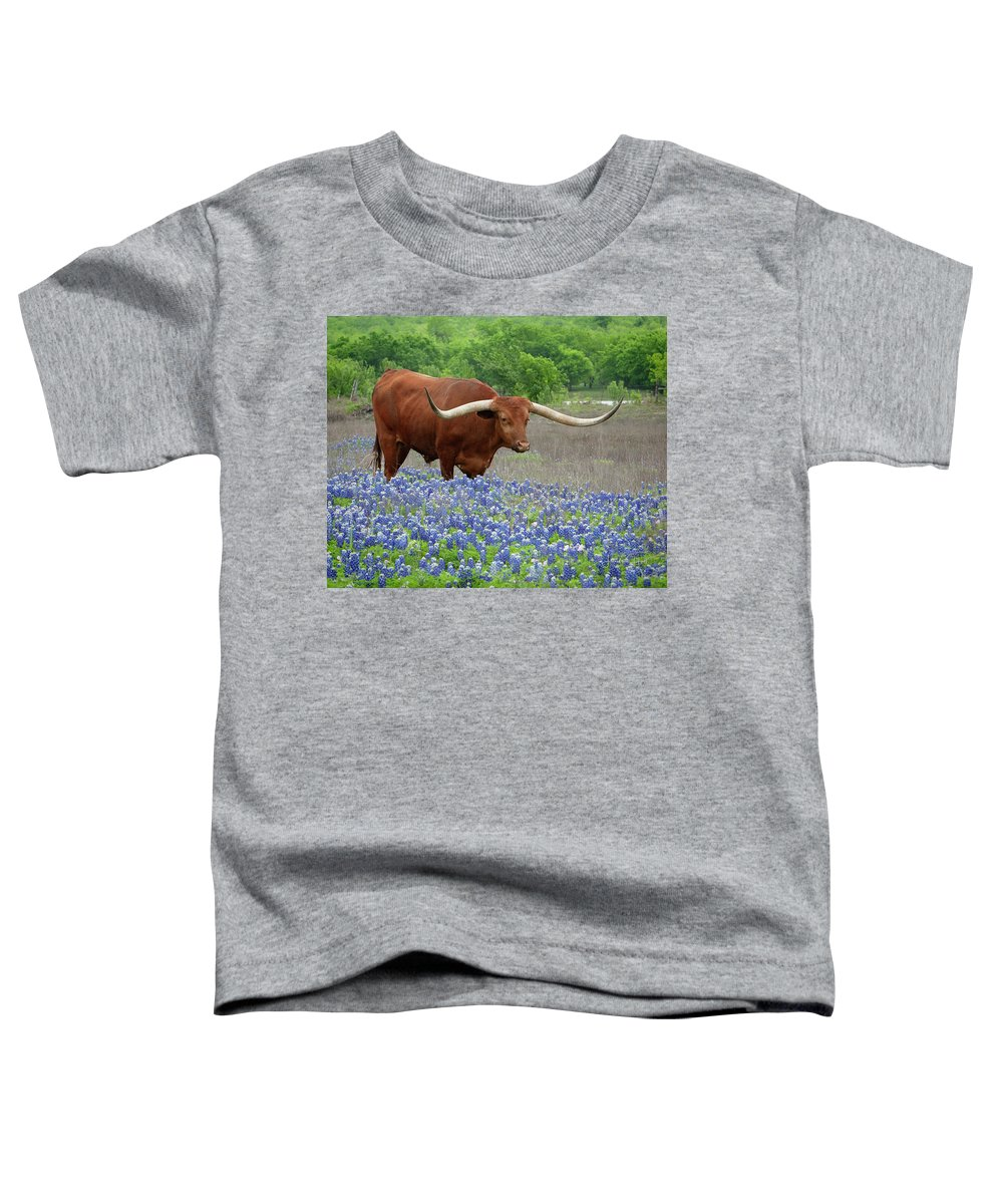 Longhorn Toddler T-Shirt featuring the photograph Big Red in the Bluebonnets by Linda Lee Hall