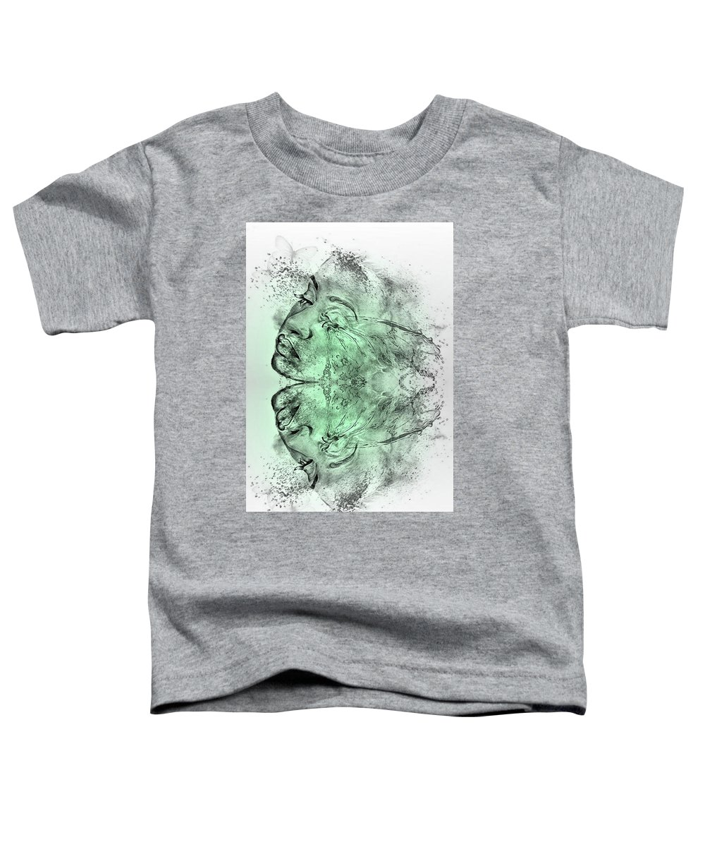 Double Exposure Toddler T-Shirt featuring the mixed media Butterfly Effect 03 by G Berry