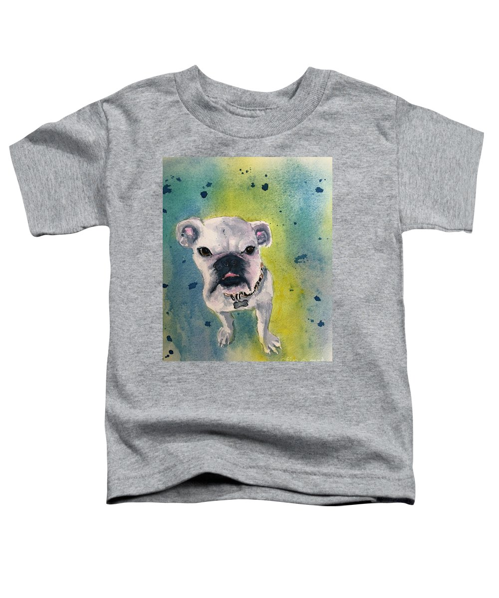 English Bulldog Toddler T-Shirt featuring the painting Captain by Midge Pippel