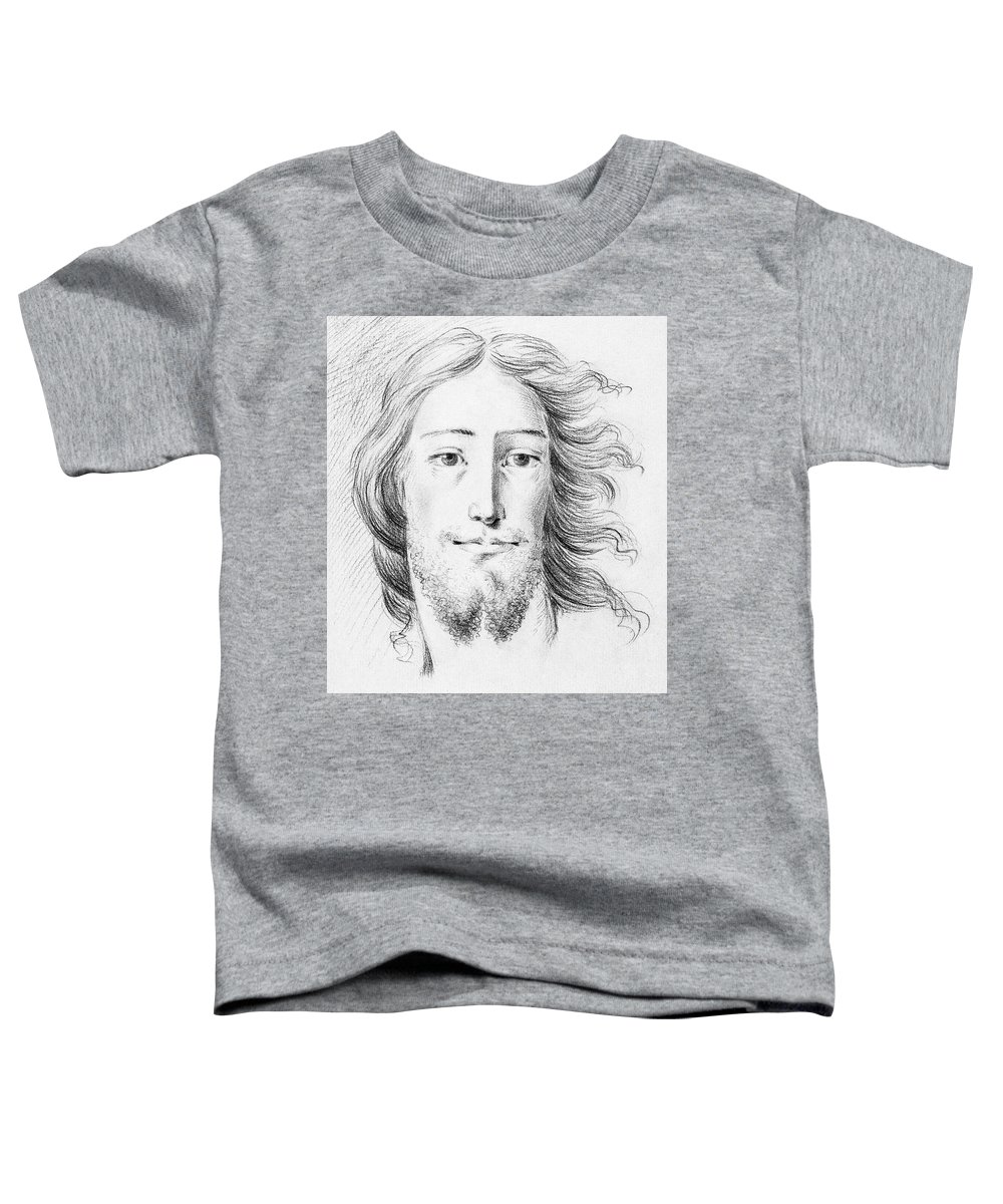 Sketch Toddler T-Shirt featuring the painting Christ Sketch By Jean Bernard 1775-1883 by Celestial Images