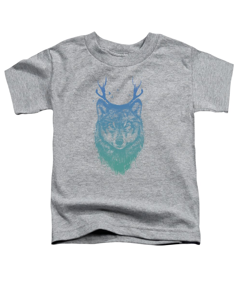 Wolf Toddler T-Shirt featuring the mixed media Deer Wolf by Balazs Solti