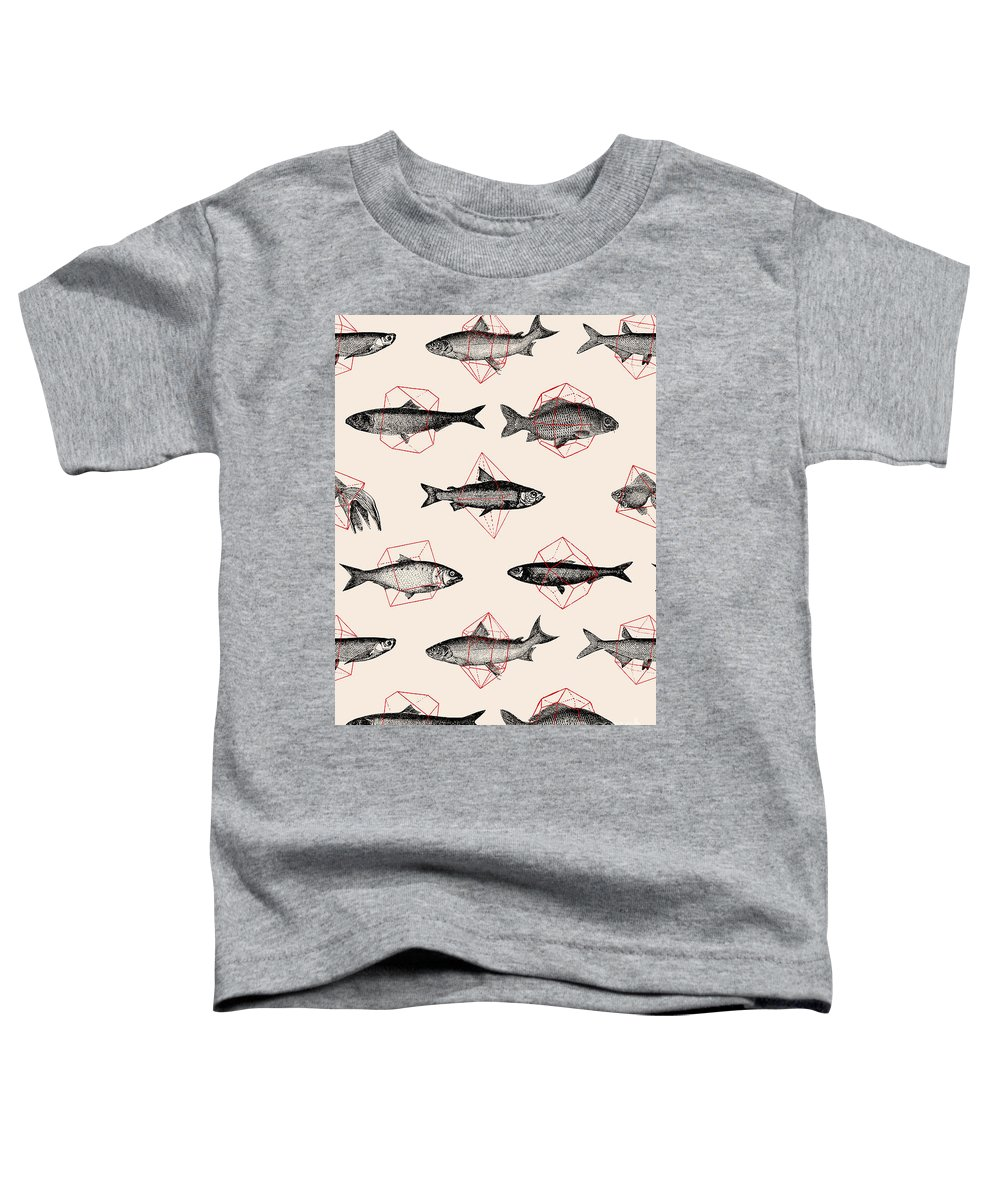 Fish Toddler T-Shirt featuring the digital art Fishes In Geometrics by Florent Bodart