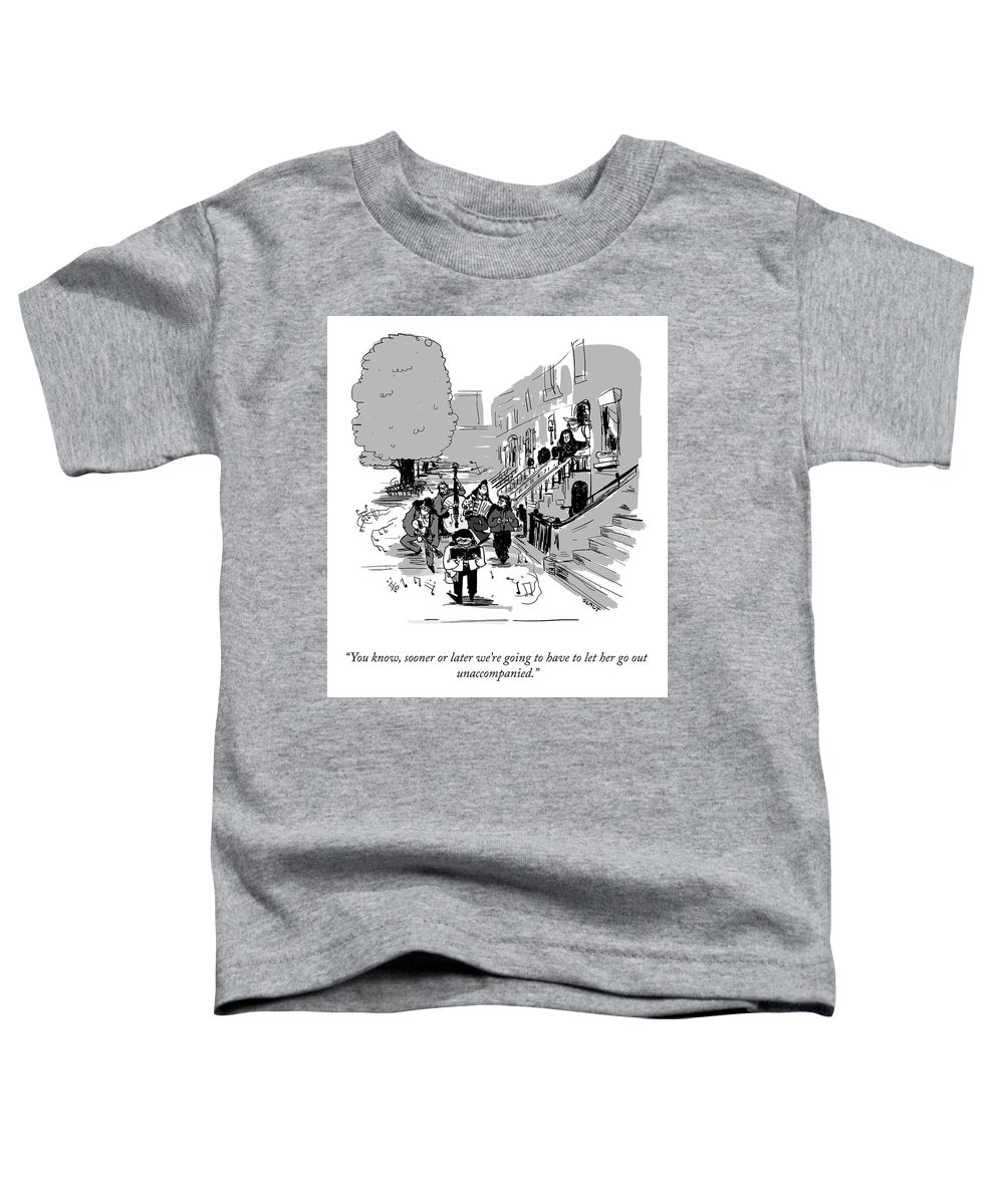 """you Know Toddler T-Shirt featuring the drawing Let Her Go Out Unaccompanied by Sara Lautman"