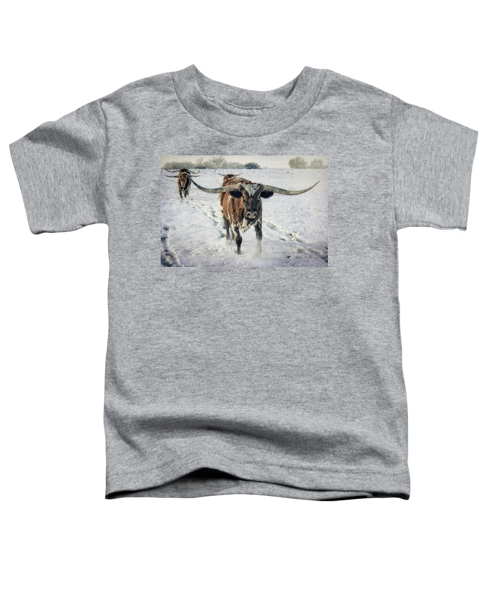 Longhorn Toddler T-Shirt featuring the photograph Longhorns in the Snow #1 by Linda Lee Hall