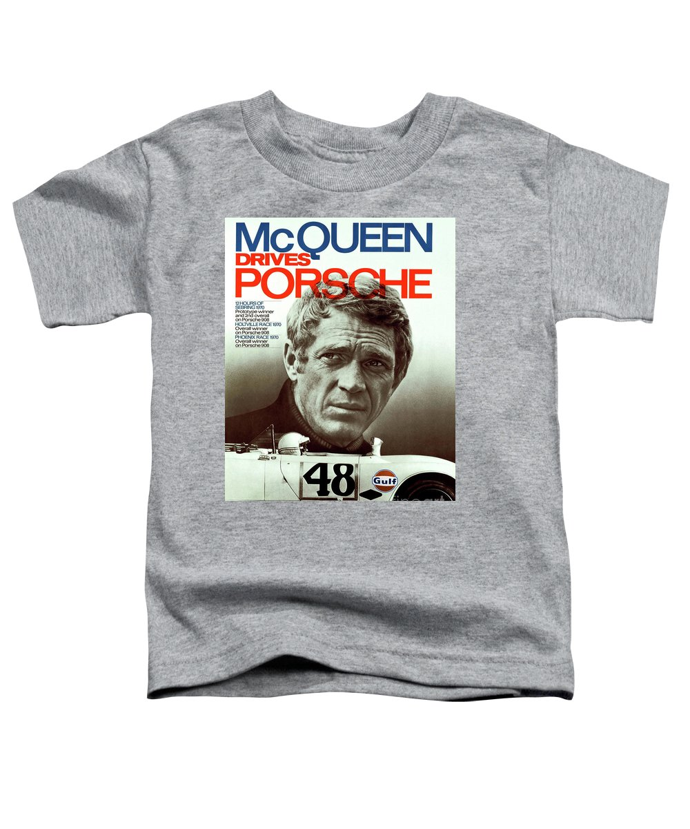 Porsche Toddler T-Shirt featuring the mixed media McQueen Drives Porsche by Thomas Pollart