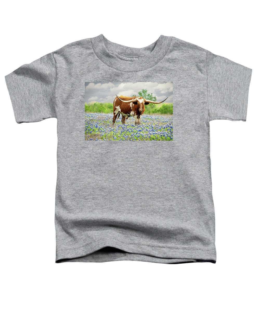 Longhorn Toddler T-Shirt featuring the photograph Mr. T in the Bluebonnets by Linda Lee Hall