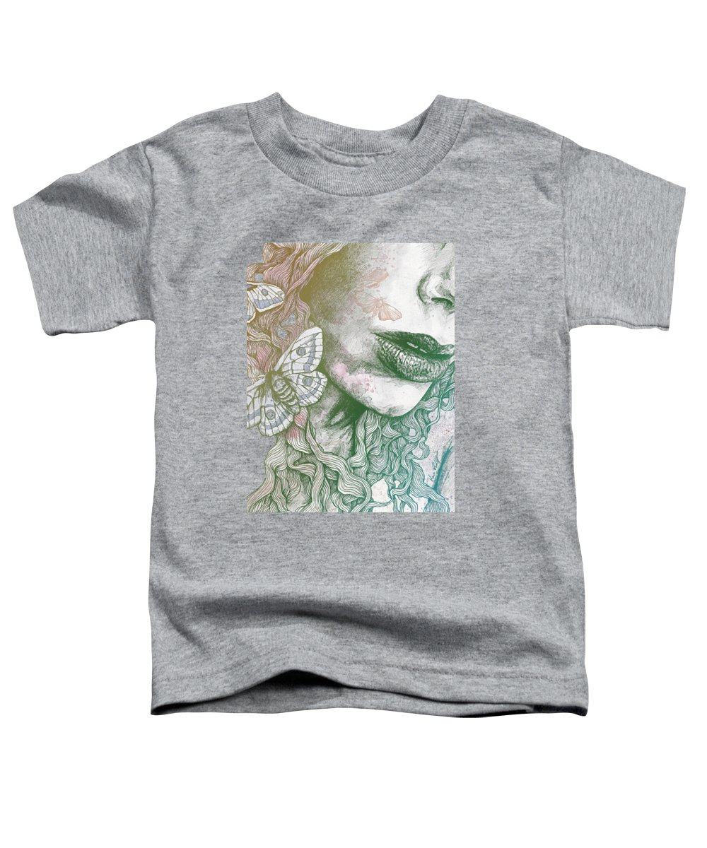 Moth Toddler T-Shirt featuring the drawing Ornaments - Rainbow II by Marco Paludet