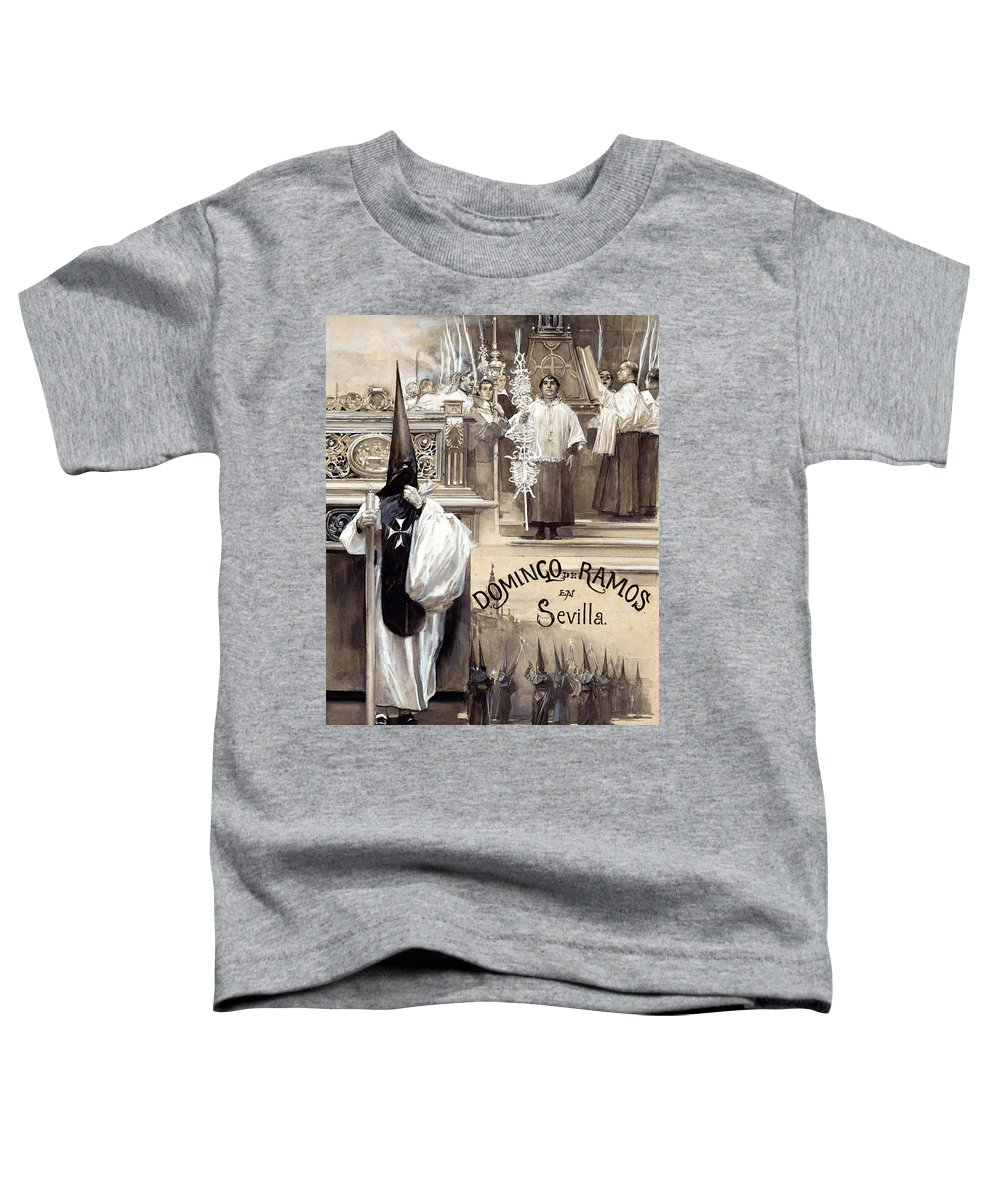 Jose Garcia Ramos Toddler T-Shirt featuring the painting Palm Sunday In Seville by Jose Garcia Ramos