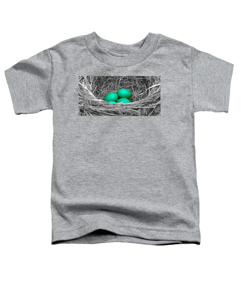 Robin Toddler T-Shirt featuring the photograph Robin's Nest Selective by Valentino Visentini