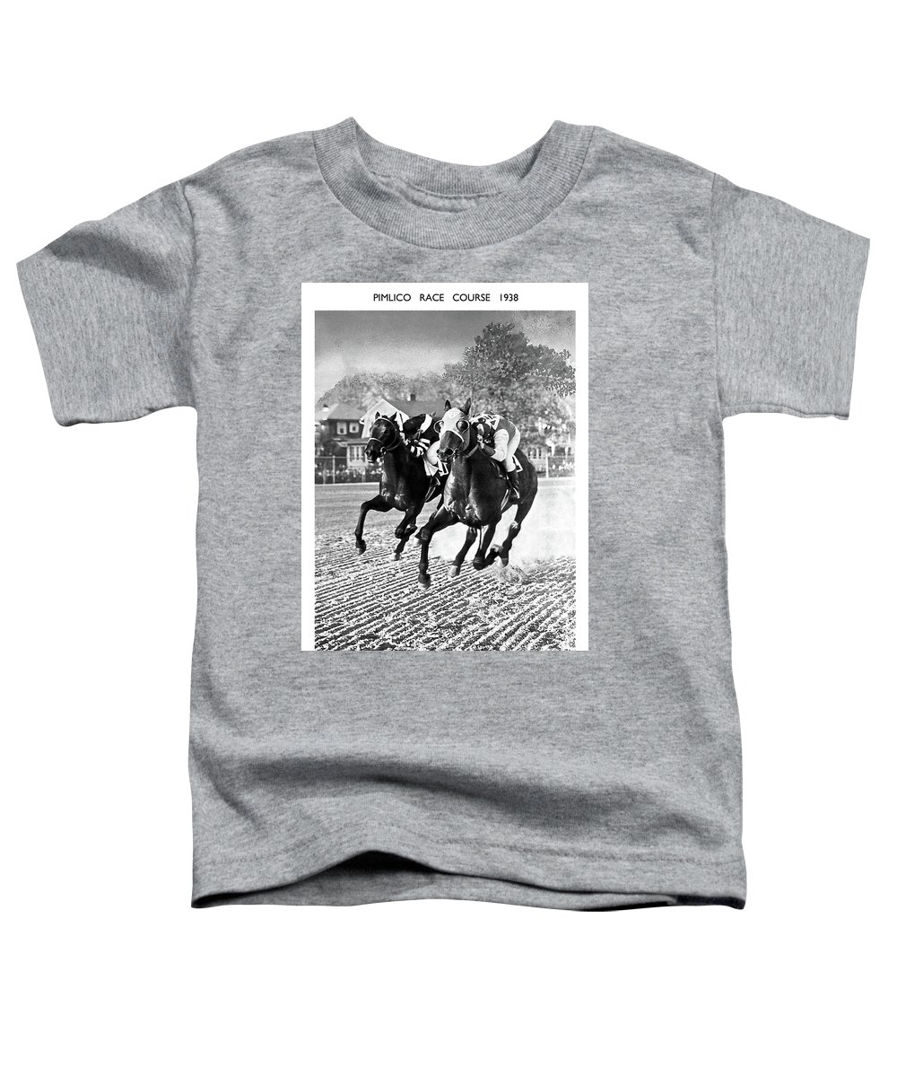 Seabiscuit Toddler T-Shirt featuring the mixed media Seabiscuit vs War Admiral, Match of the Century, Pimlico, 1938 by Thomas Pollart