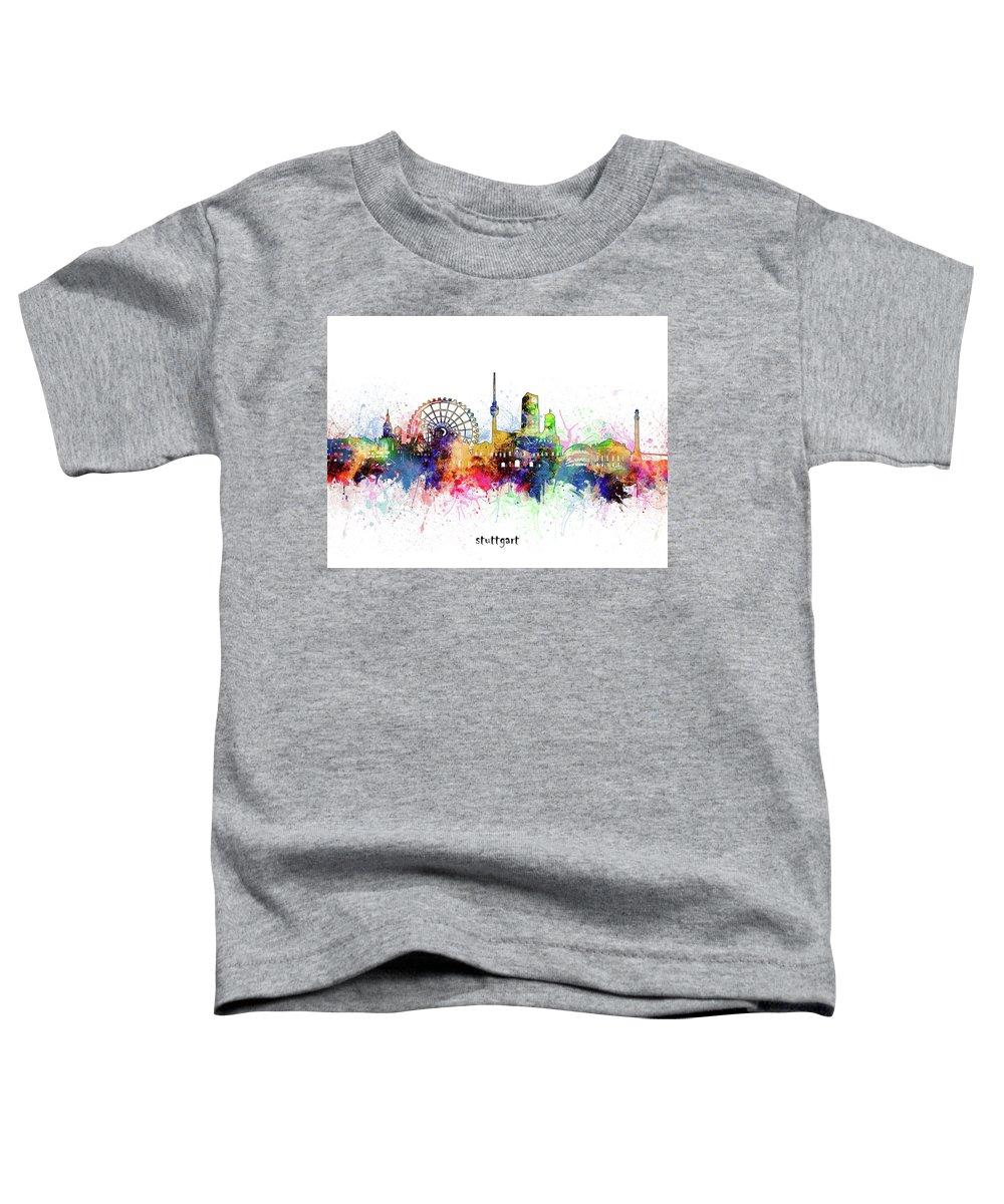 Stuttgart Toddler T-Shirt featuring the digital art Stuttgart Skyline Artistic by Bekim M