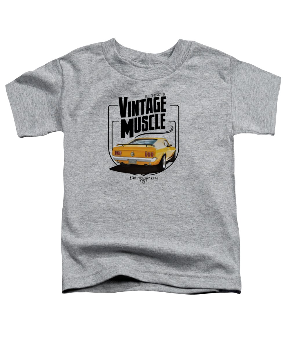 Mustang Toddler T-Shirt featuring the digital art Vintage Pony Muscle by Paul Kuras