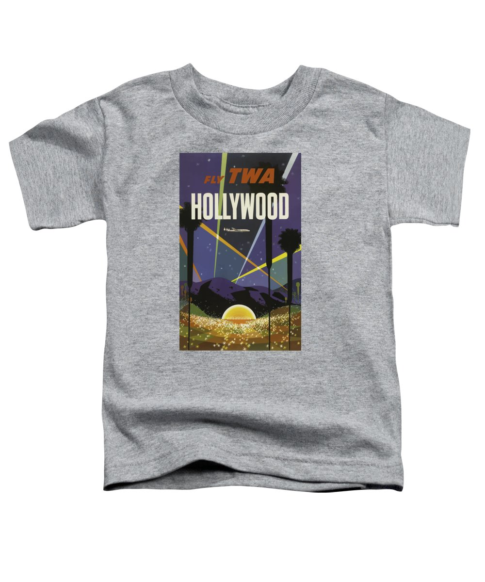 Hollywood Toddler T-Shirt featuring the painting Vintage Travel Poster - Hollywood by Esoterica Art Agency