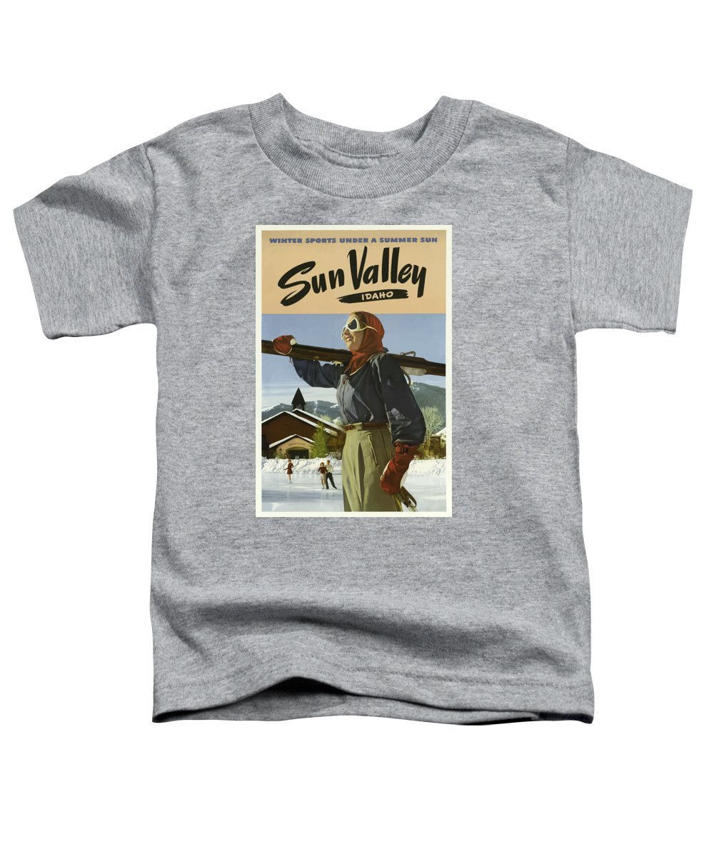 Sun Toddler T-Shirt featuring the painting Vintage Travel Poster - Sun Valley, Idaho by Esoterica Art Agency