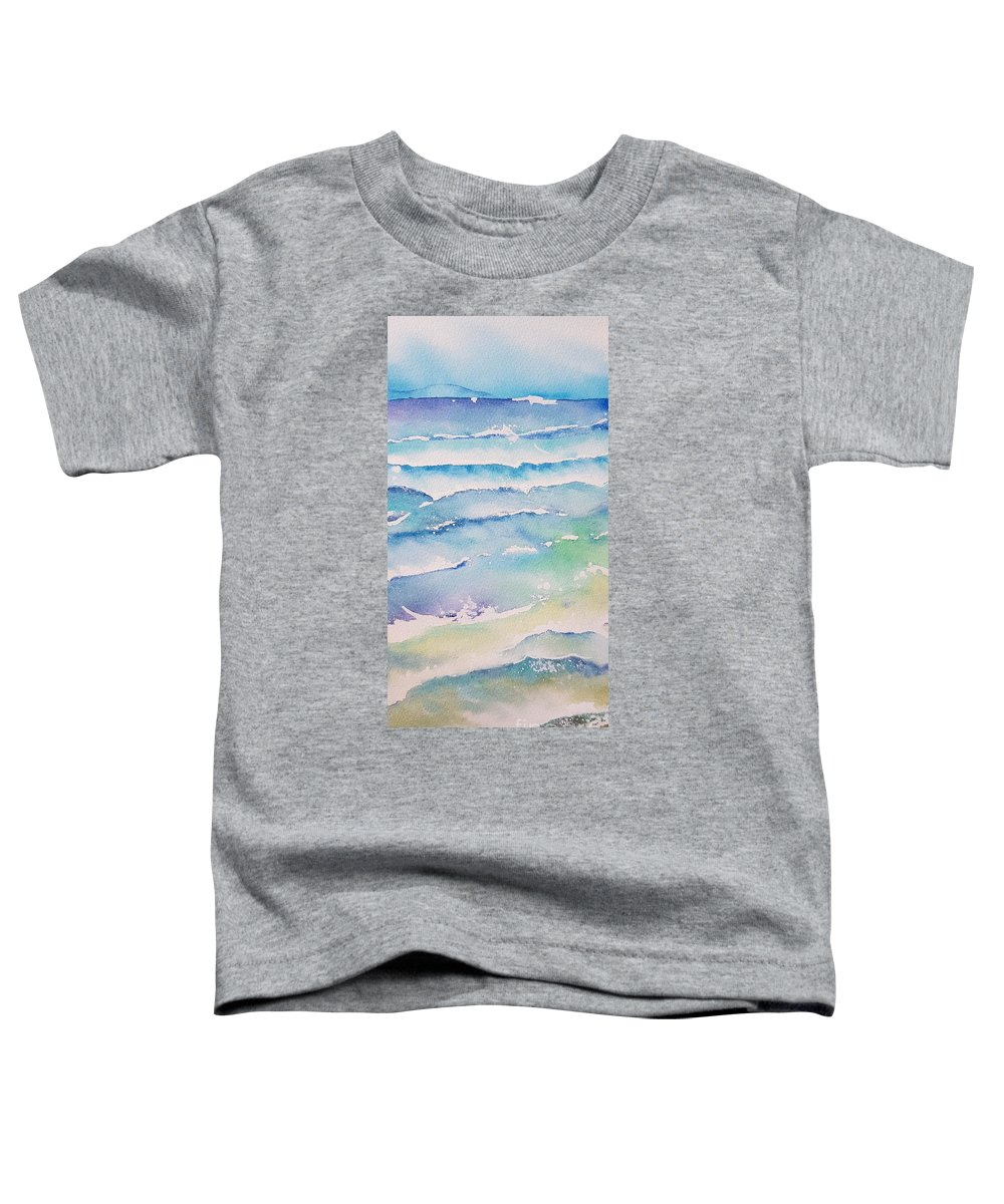 Watercolor Toddler T-Shirt featuring the painting Waves by Paola Baroni