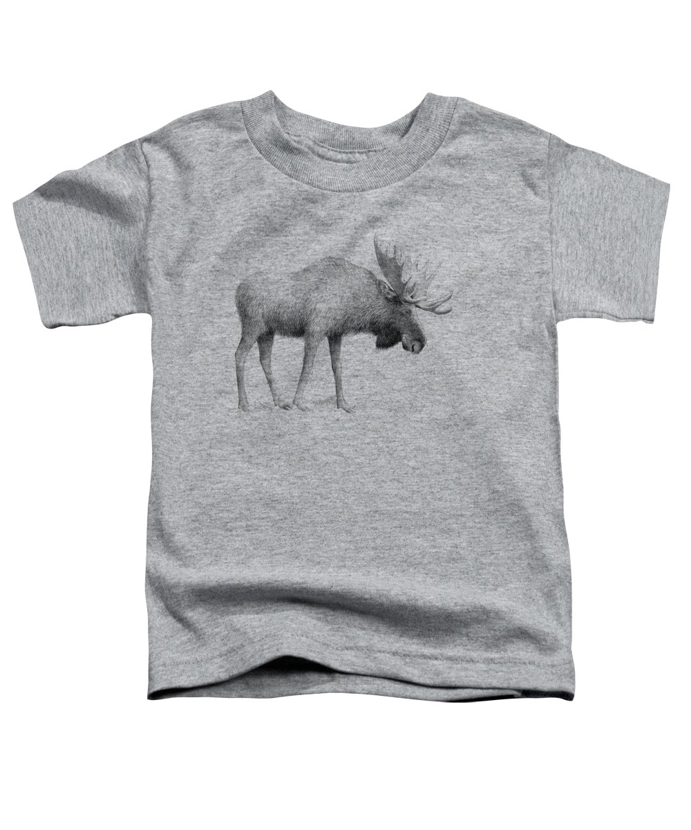 Moose Toddler T-Shirt featuring the drawing Winter Moose by Eric Fan