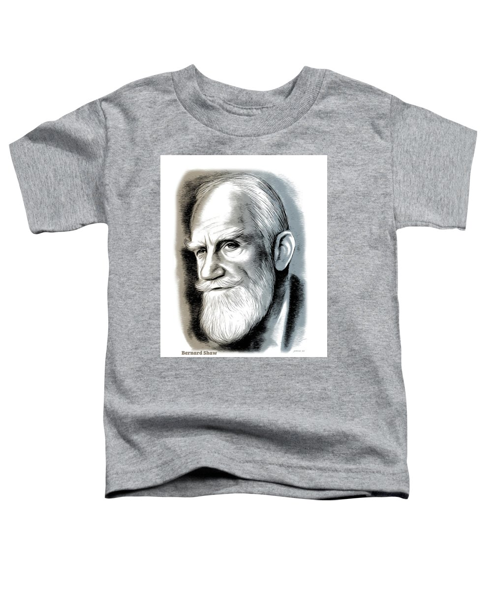 Bernard Shaw Toddler T-Shirt featuring the mixed media Bernard Shaw - Mixed Media by Greg Joens