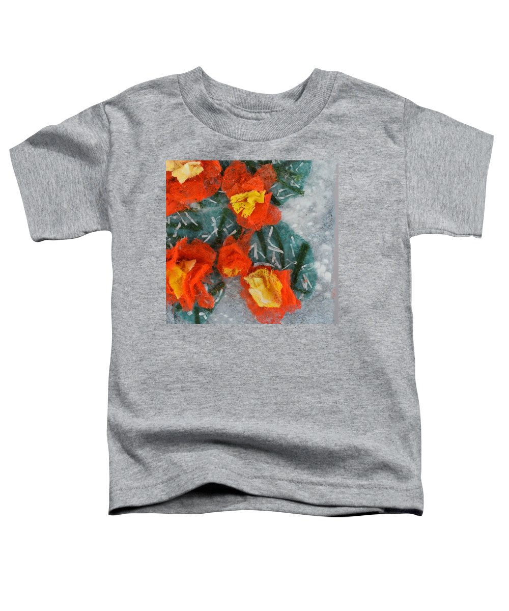 Dryer Sheets Toddler T-Shirt featuring the mixed media Cactus Flowers by Charla Van Vlack