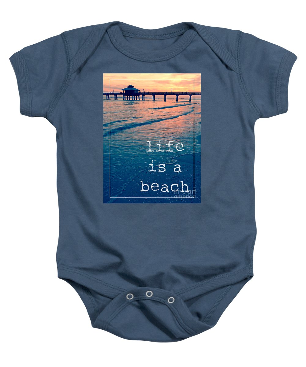 Sunset Baby Onesie featuring the photograph Life Is A Beach by Edward Fielding