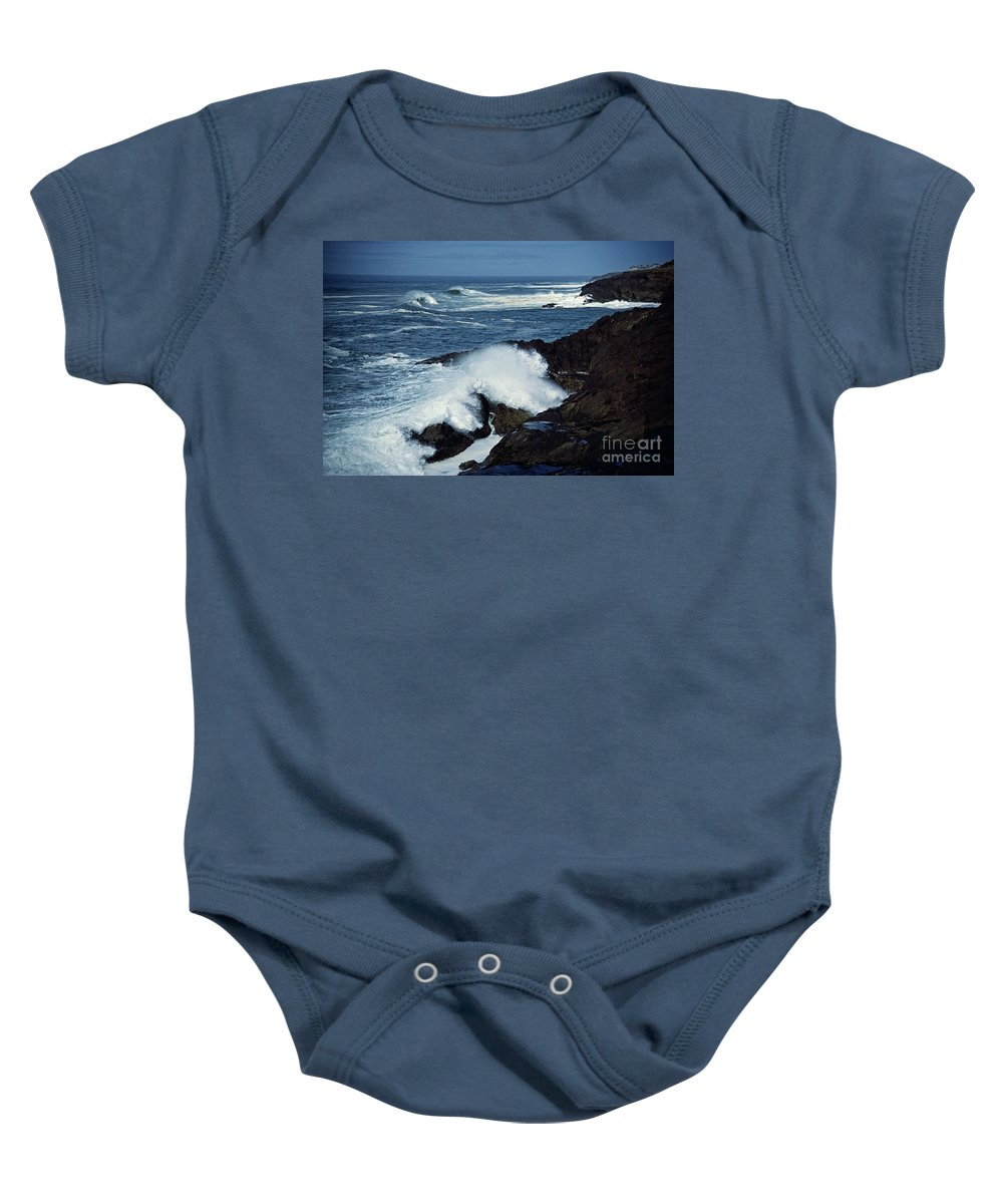 Seascape Baby Onesie featuring the photograph Rough Surf by Earl Johnson