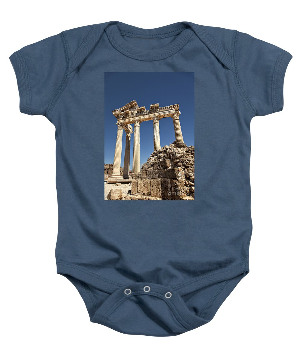Turkish Baby Onesie featuring the photograph Temple Of Apollo by Sophie McAulay