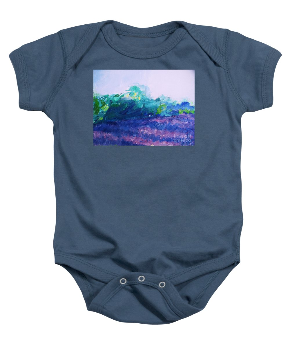 Provence  Baby Onesie featuring the painting Provence Lavender Field by Eric Schiabor