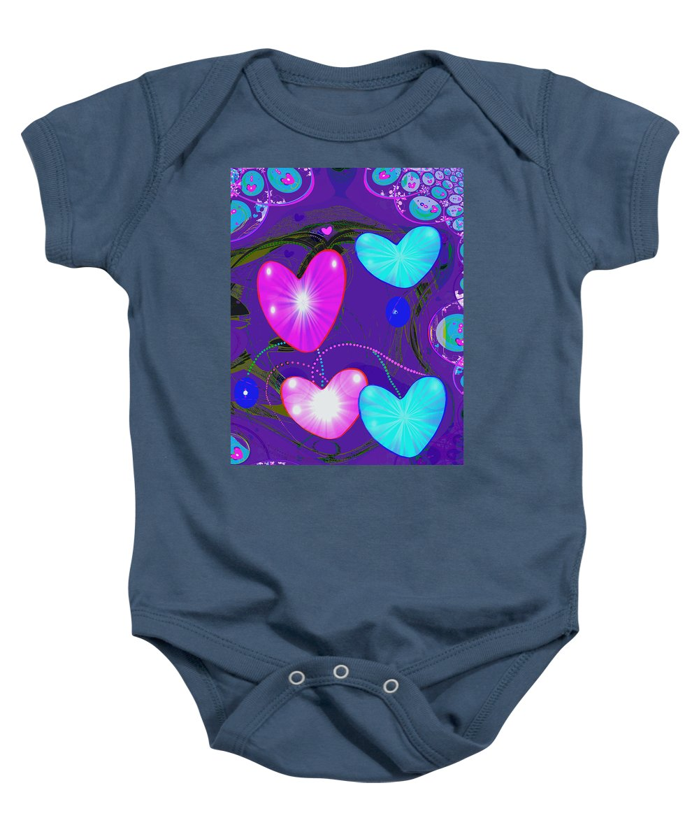 Abstract Baby Onesie featuring the painting 472 - Valentine Hearts ... by Irmgard Schoendorf Welch