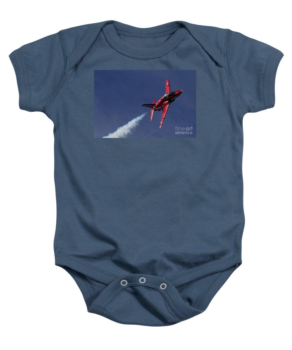 Red Arrows Baby Onesie featuring the digital art Red Arrows by J Biggadike