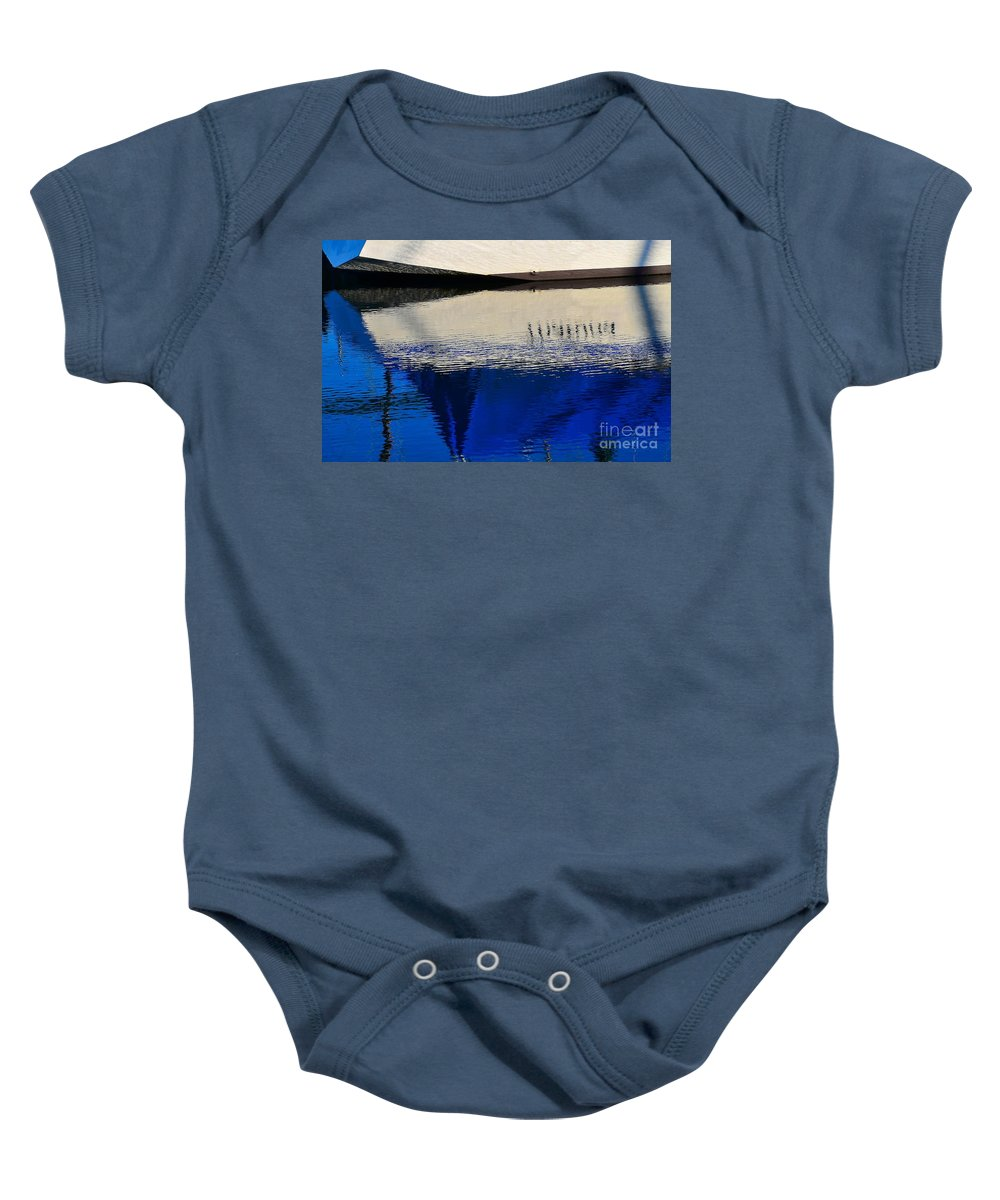Abstract Baby Onesie featuring the photograph Adrift On The Deep Blue by Lauren Leigh Hunter Fine Art Photography