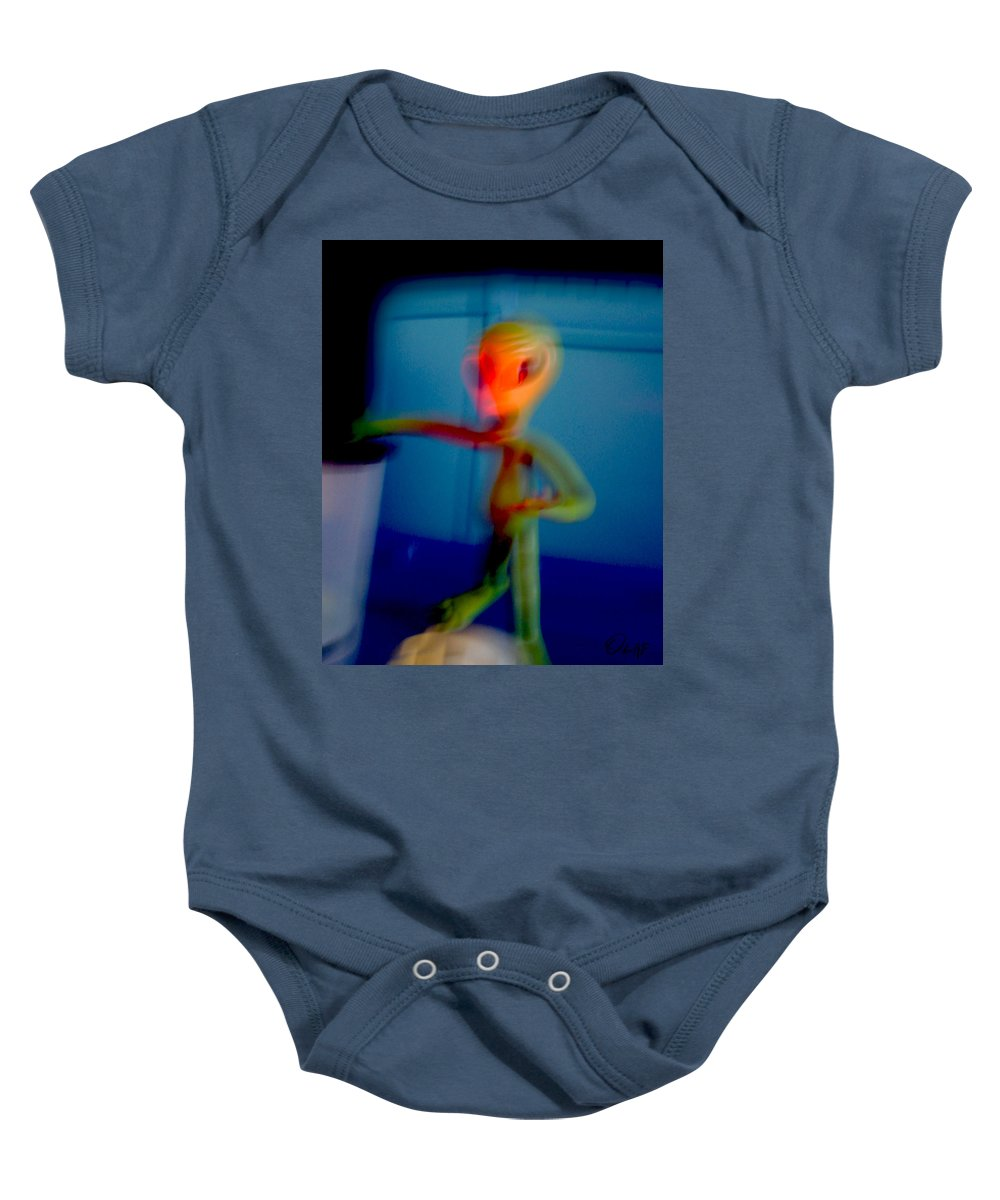 Grays Baby Onesie featuring the photograph Alien In His Back Yard By The Pool Is Startled By Big Foot And Shrieks Like Schoolgirl by Del Gaizo