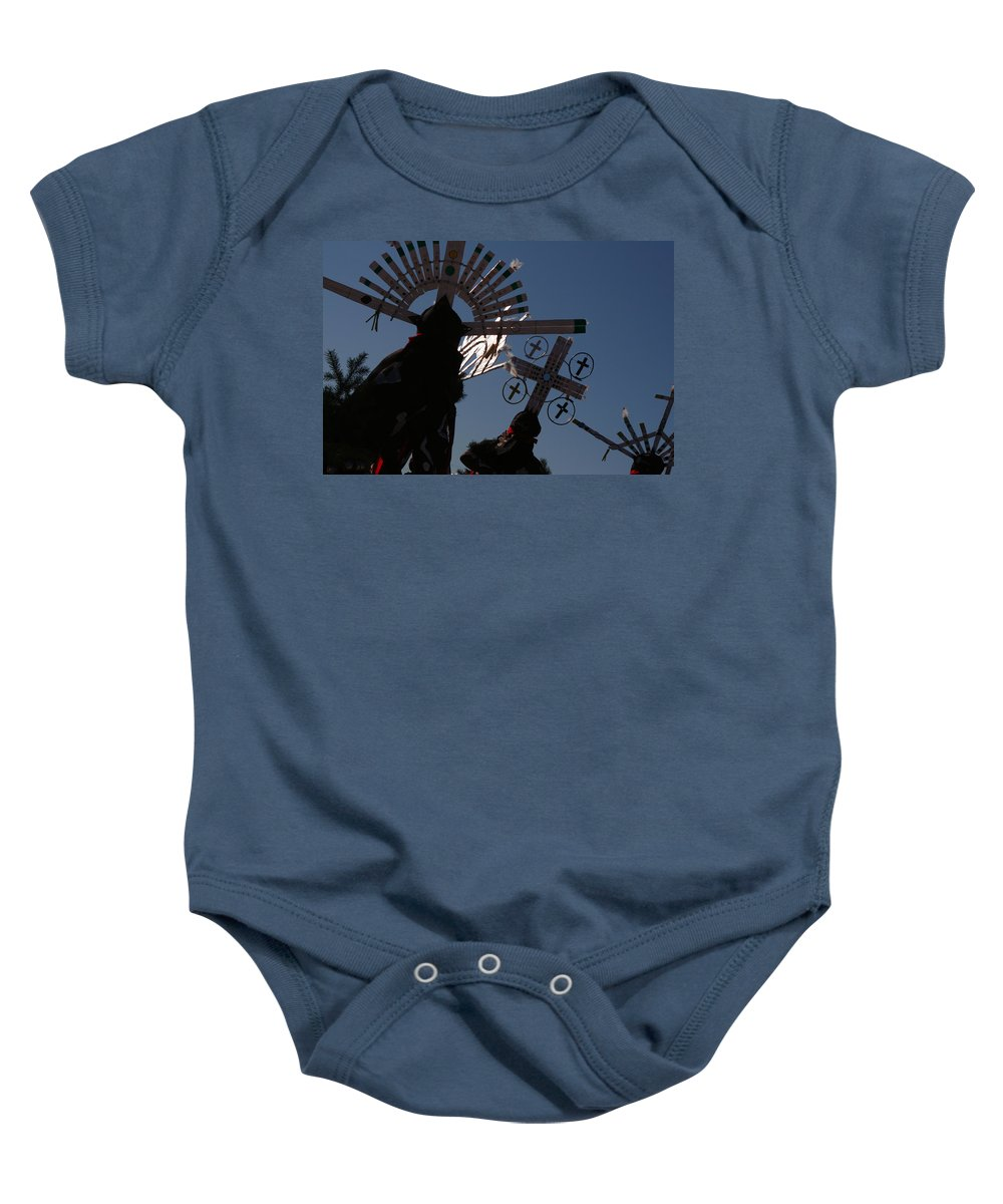Dance Baby Onesie featuring the photograph Apache Dancers by Joe Kozlowski