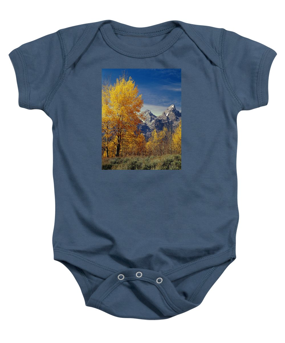 Aspens Baby Onesie featuring the photograph 1m9353-aspens In Autumn And The Teton Range - V by Ed Cooper Photography