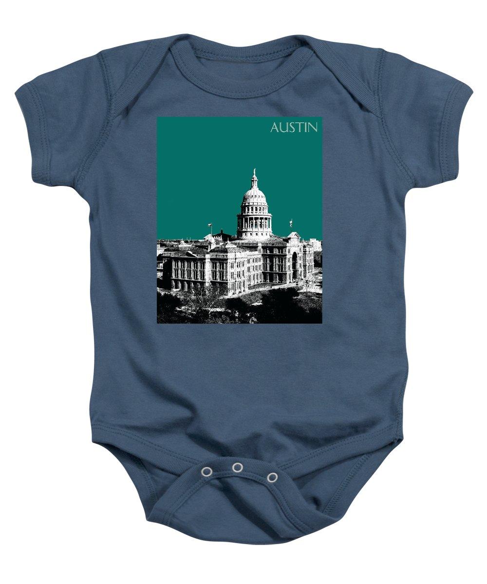 Architecture Baby Onesie featuring the digital art Austin Texas Capital - Sea Green by DB Artist