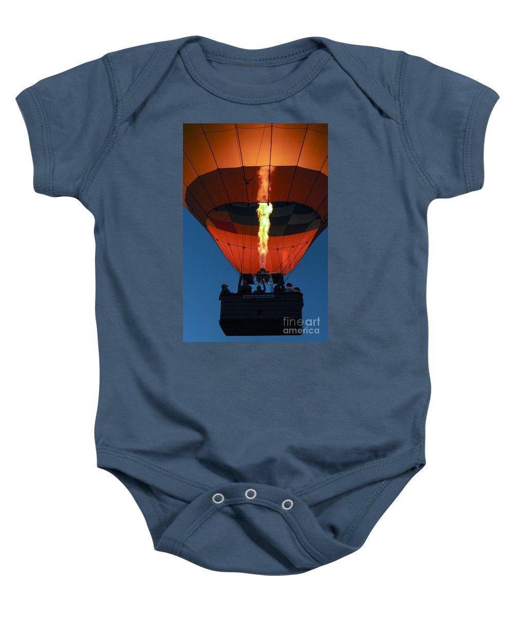 Hot Air Balloon Ride Napa Valley California Basket Baskets Fire Fires Burner Burners Passenger Passengers People Persons Pilot Pilots Motion Still Life Baby Onesie featuring the photograph Balloon Ride At Dawn by Bob Phillips